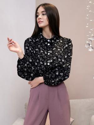 Блуза черная в принт   5688259