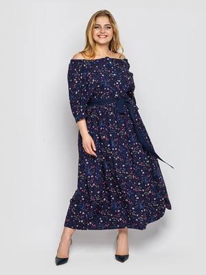 Платье темно-синее в цветочный принт | 5692992