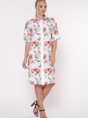 Платье белое в цветночный принт | 5684047