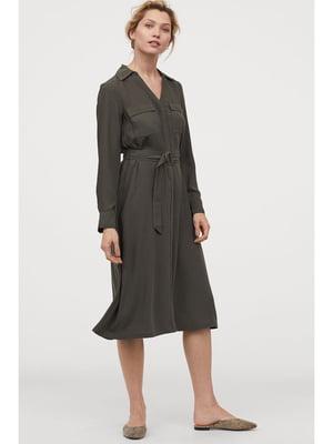 Сукня-сорочка кольору хакі | 5692040
