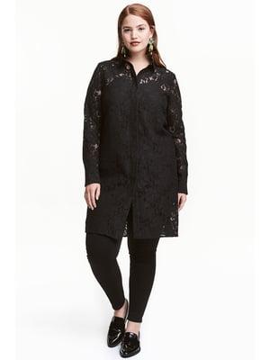 Рубашка-туника черная с узором | 5692186
