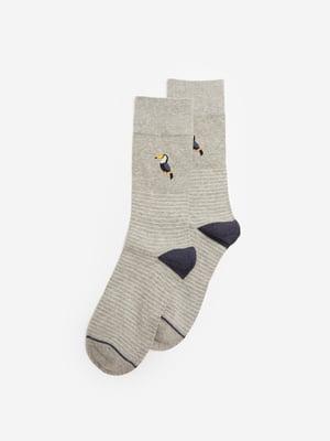 Носки серые с рисунком и в полоску | 5692853