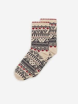 Носки бежевого цвета с орнаментом | 5692870