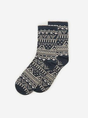 Носки синие с орнаментом | 5692871