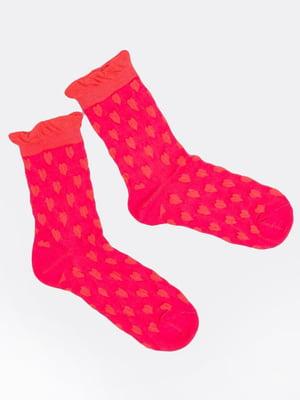 Шкарпетки рожеві в принт | 5693620