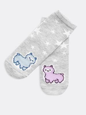Шкарпетки сірі в принт | 5693621