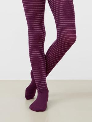 Колготки фіолетові у смужку | 5693629
