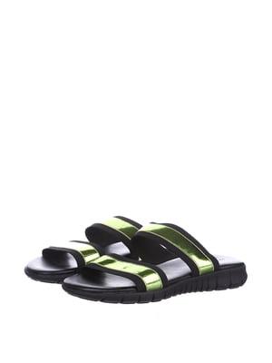 Шлепанцы черно-зеленого цвета | 5694149