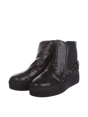 Ботинки шоколадного цвета с узором | 5694312