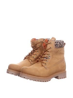 Ботинки бежевого цвета с анималистическим принтом | 5694141