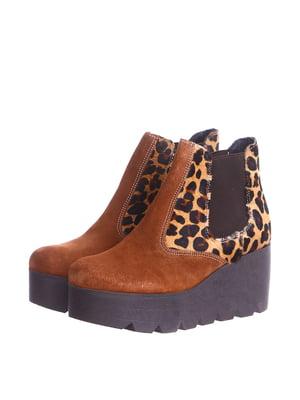 Ботинки коричневого цвета с анималистическим принтом | 5694194