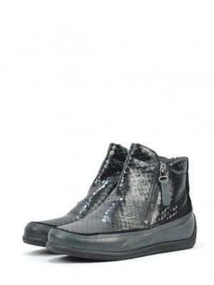 Ботинки черно-зеленого цвета с узором | 5694263