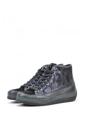 Ботинки черно-зеленого цвета с декором | 5694267