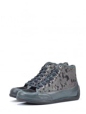 Ботинки зеленого цвета с анималистическим узором | 5694269