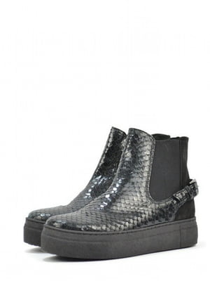 Ботинки черные с узором | 5694278