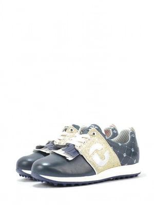 Кросівки сині з візерунком-ромбом та логотипом | 5694303