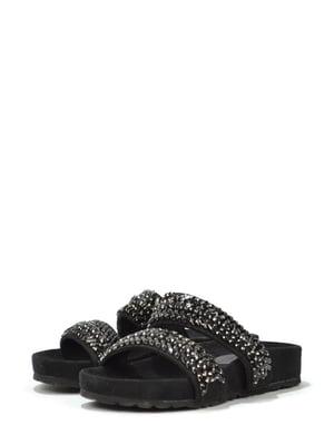 Шльопанці чорні з декором | 5694192