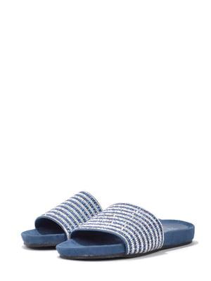 Шльопанці сині з декором | 5694193