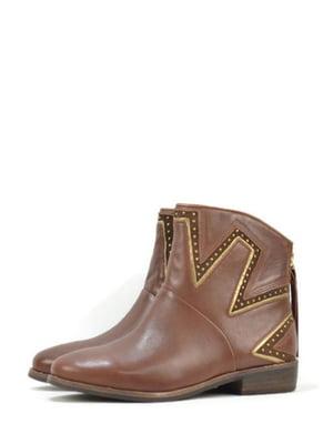 Черевики коричневого кольору з декором | 5694541