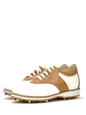 Дербі для гольфу біло-бежевого кольору | 5694413