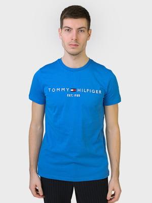 Футболка голубая с принтом | 5693347