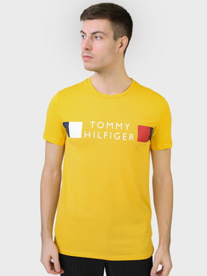Футболка жовта з принтом | 5693461