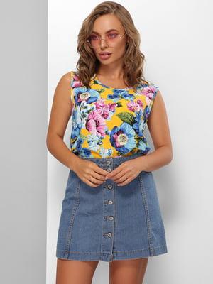 Блуза желтая с цветочным принтом | 5694970