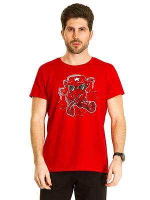 Футболка красная с принтом | 5695205