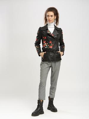 Куртка чорна з квітковою вишивкою | 5695083