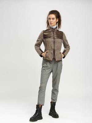 Куртка-жакет коричневого кольору в клітинку   5695106