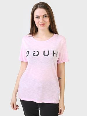Футболка рожевого кольору з логотипом | 5683756