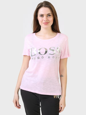 Футболка рожевого кольору з логотипом | 5683760