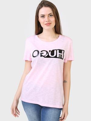 Футболка рожевого кольору з логотипом | 5683765