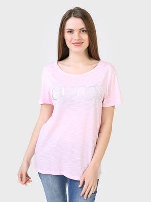 Футболка рожевого кольору з логотипом | 5683779