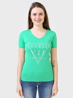 Футболка зеленого кольору з логотипом | 5683783
