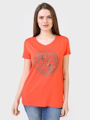 Футболка теракотового кольору з логотипом   5683786