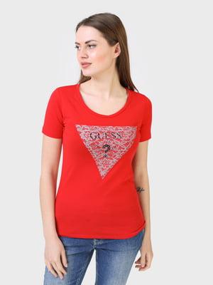 Футболка червоного кольору з логотипом | 5683787