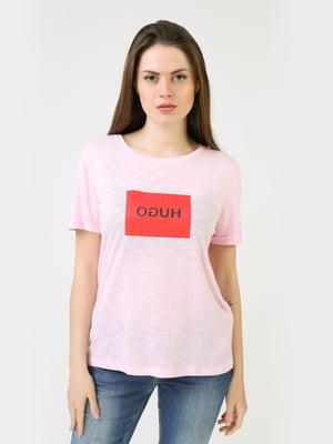 Футболка рожевого кольору з логотипом | 5683763