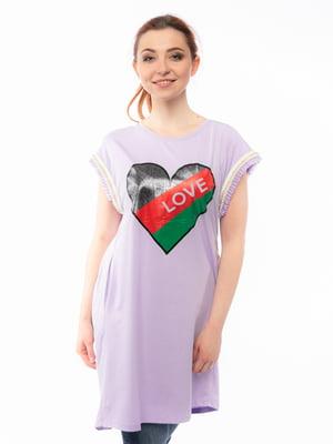 Сукня бузкового кольору з малюнком | 5690682