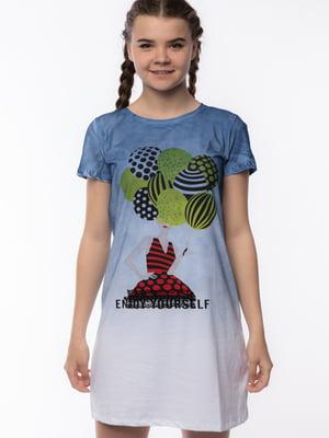 Сукня-футболка біло-синя з принтом | 5690687