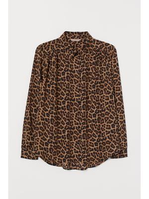 Рубашка коричневая в принт | 5696076