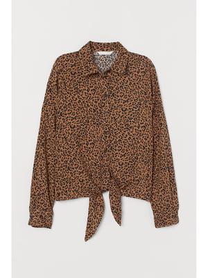 Рубашка коричневая в принт | 5696113