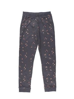 Брюки пижамные серые в принт | 5696181