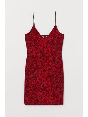 Сукня червона в принт | 5696551