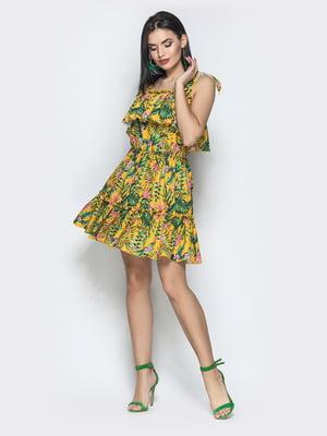 Сукня гірчичного кольору з принтом | 5697442