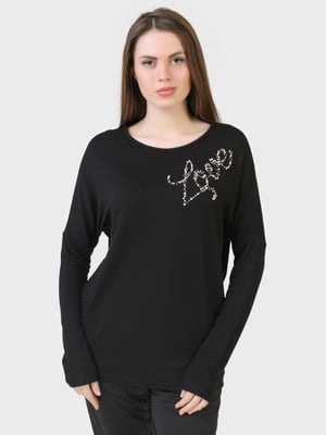 Лонгслив черный с рисунком | 5698543