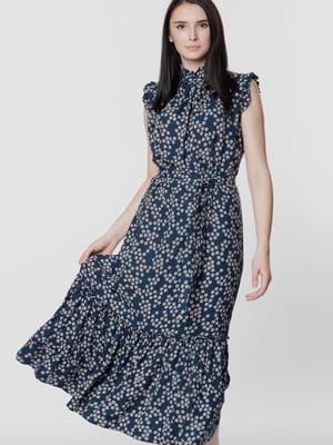 Платье синее с цветочным принтом | 5699667