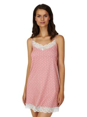 Рубашка ночная цвета пудры в горошек | 5701000