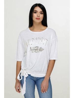 Блуза белая с принтом | 5699689
