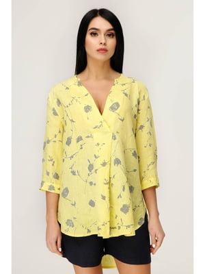 Блуза желтая с цветочным принтом | 5699702
